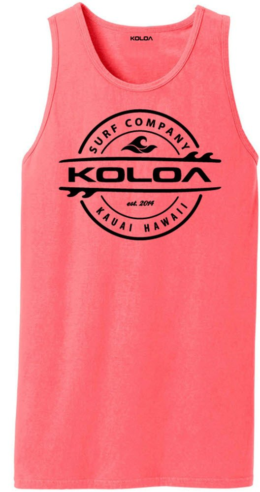 Koloa Surf(tm) Thruster Logo Pigment-Dyed Tank Tops-NeonCoral/b-M