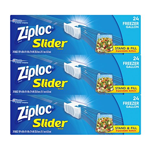 Ziploc Gallon Slider Freezer Bags, 72 Count
