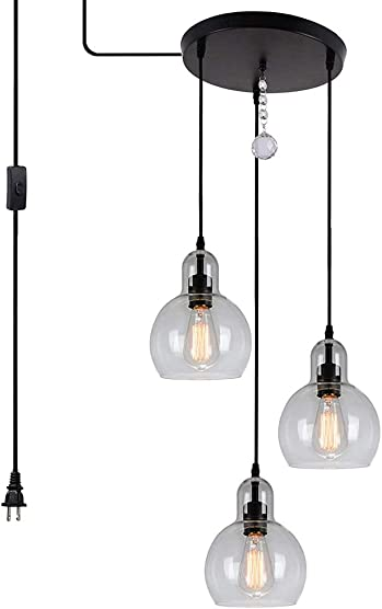 HMVPL Plug in Glass Pendant Light Fixture Remote Control 3-Lights Chandelier with 16 Ft Hanging Cord and ON Off Toggle Switch, Rustic Hanging Lamp for Living Room Dining Room Kitchen Island Hallway