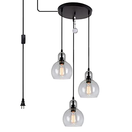online store 99b84 900ba HMVPL Plug in Glass Pendant Light Fixture Remote Control 3-Lights  Chandelier with 16 Ft Hanging Cord and ON/Off Toggle Switch, Rustic Hanging  Lamp for ...