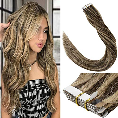 LaaVoo 16 inch Tape Human Hair Extensions Dip Dye Real Hair Extensions Piano Color Medium Brown Fading to Light Blonde Tape in Hair Extension Seamless Hair 50 Grams 20 Pcs (#P6/24) (Dark Blonde To Light Blonde Dip Dye)