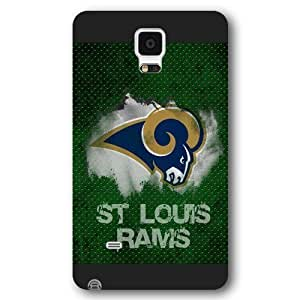 Customized NFL Series Case for Samsung Galaxy Note 4, NFL Team St Louis Rams Logo Samsung Galaxy Note 4 Case, Only Fit for Samsung Galaxy Note 4 (Black Frosted Shell)