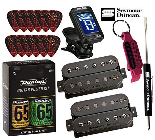 String Pickup Set - Seymour Duncan Pegasus / Sentient 6 String Humbucker Pickup Set 11108-95-B BUNDLE wtih Tuner, Picks, Care Kit