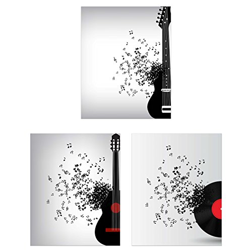 Summit Designs Guitar Wall Decor - Set of 3 (8x10) Poster Photos - Electric Acoustic Record Vinyl ()