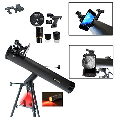 Cassini C-SS80 800mm x 80mm Astronomical Reflector Telescope and Smartphone Photo Adapter (Reflector Adapter)