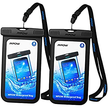 Mpow Universal Waterproof Case, New Type PVC Waterproof Pouch for Outdoor Sports with IPX8 Certified for iPhone8/7/7Plus/6/6s Plus/ Samsung/ Google Pixel/ HTC/ LG/ Huawei [2-PACK] (Black)