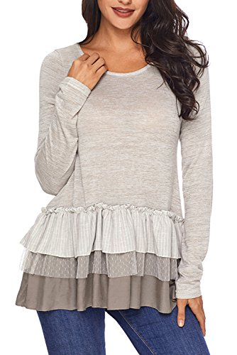 AlvaQ Women's Maternity Long Sleeve Loose Chiffon Long Blouses Lace Ruffle Knit Tunics Tops Knit Pullovers