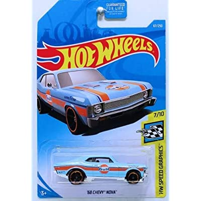 Hot Wheels 1:64 Scale Speed Graphics 7/10,[Blue] '68 Chevy Nova 67/250: Toys & Games