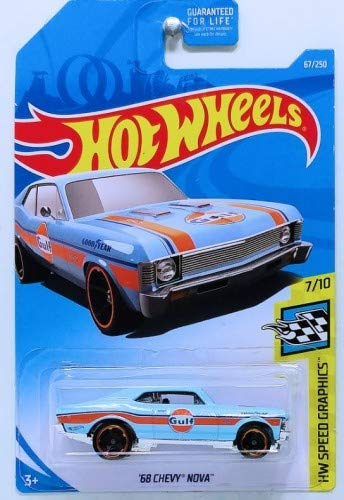 Hot Wheels 1:64 Scale Speed ​​Graphics 7/10, [Azul] Chevy Nova 67/250 del 68