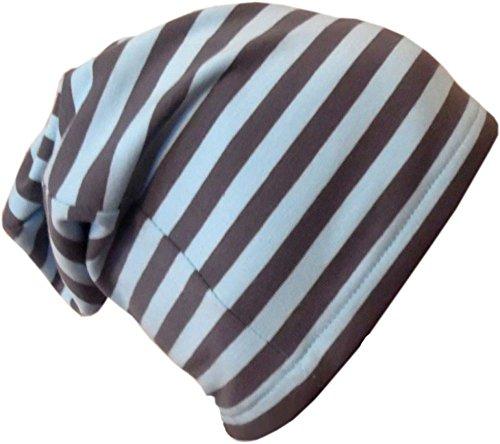 Beanie gorro rayas/EN 7Tamaños Designs/Niños y Adultos Hellblau-Grau
