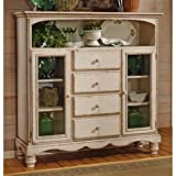 Cheap Hillsdale Furniture 4508-854 Wilshire 63.72″ Baker's Cabinet with 4 Drawers 2 Glass Doors 1 Open Compartment and Chilean Pine Construction in Antique White