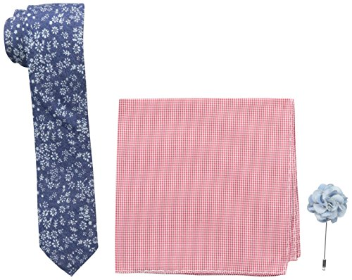 Original Penguin Mens Royale Flower Tie, Pocket Square, Lapel Pin Box Set, Navy, One Size
