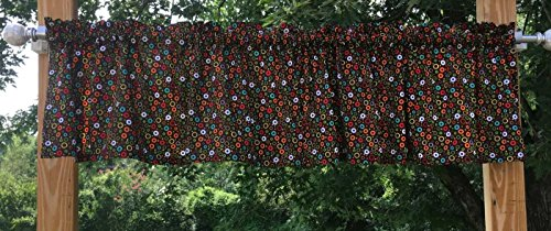 Bubbles Valance (Green Orange Red Blue Aqua White Yellow Circles Bubbles on Dark Brown Handcrafted Valance w10/34)