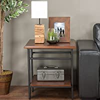 Baxton Studio Newcastle Wood and Metal End Table, Brown