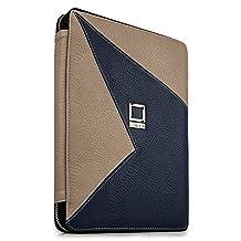 "Lencca Minky Eco Leather Zipper Tablet Case Portfolio for Nvidia Shield K1 8"" / Onda V820w V891w V919 8"" 8.9"" 9.7"" Tablet (Blue / Taupe)"