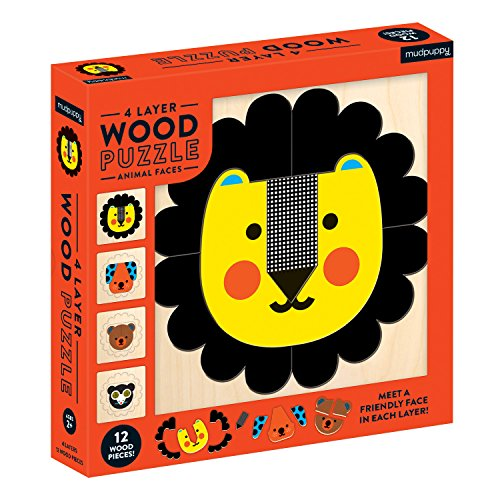 Mudpuppy 4-Layer Animal Faces 12Piece Wood Jigsaw Puzzle, Ages 2+ - Sharpen Problem-Solving & Fine Motor Skills, Multicolor