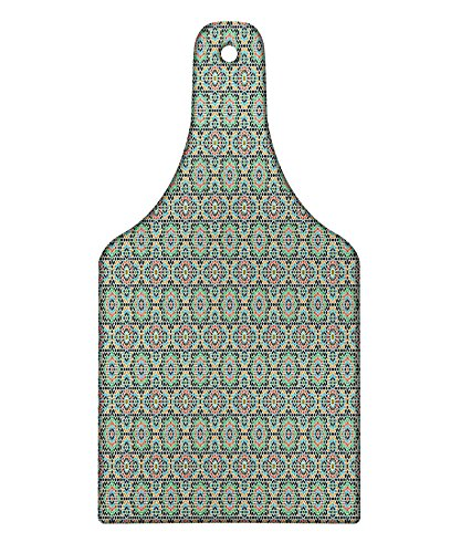 Lunarable Arabian Cutting Board, Old Design Traditions with Geometric Details Traditional Star Ceramic Art Mosaic, Decorative Tempered Glass Cutting and Serving Board, Wine Bottle Shape, Multicolor by Lunarable
