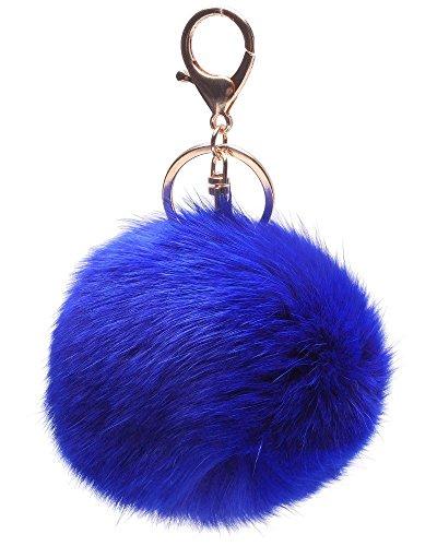 La Tartelette Novelty Keychain with Plush Cute Artificial Rabbit Fur Key Chain for Car Key Ring Bag Purse Charm (Navy Blue) (Best Rabbits For Fur)