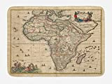 Lunarable Antique Bath Mat, Old Map of Africa Continent Ancient Historic Rustic Manuscript Geography, Plush Bathroom Decor Mat with Non Slip Backing, 29.5 W X 17.5 W Inches, Sand Brown Multicolor