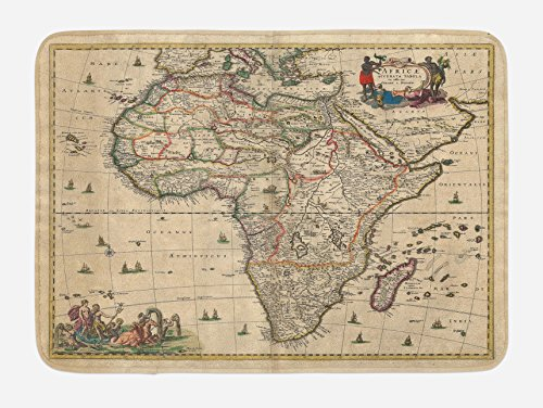 Lunarable Antique Bath Mat, Old Map of Africa Continent Ancient Historic Rustic Manuscript Geography, Plush Bathroom Decor Mat with Non Slip Backing, 29.5 W X 17.5 W Inches, Sand Brown Multicolor by Lunarable