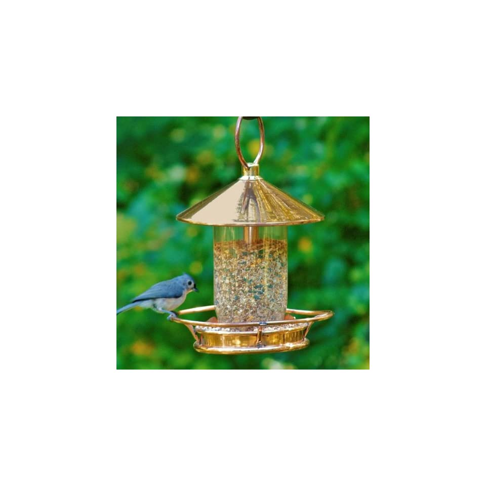 Polished Copper Classic Perch Hanging Bird Feeder