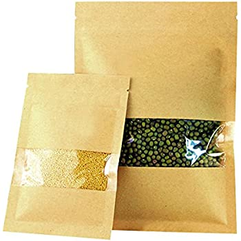 16x22CM Strong Grip Seal Bags Flat Pouch Brown Craft Paper w Clear Window