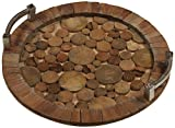 ''Hagron'' 20'' Diameter Reclaimed Wood Serving Tray, Metal Handles
