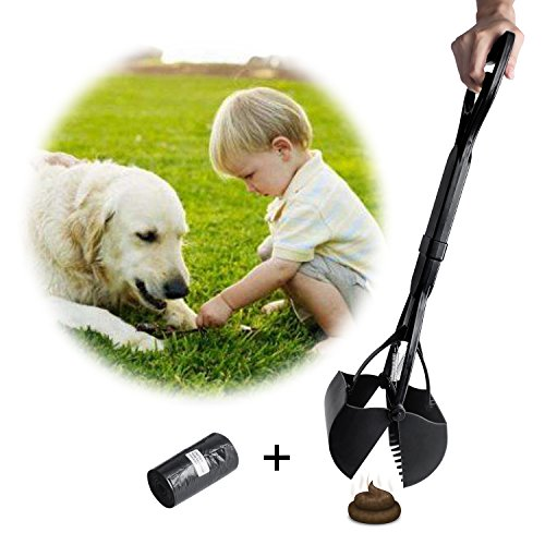Beinhome 23 inch Pooper Scoopers Long One-Hand Use Dog Poop Scoop with Waste Bags for Dogs Pets in Jaw Scoop Design(Black)