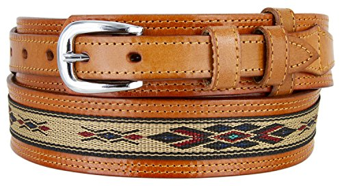 Mens Genuine Leather Ranger Belt with Southwestern Woven Diamond Pattern Accent (38 Tan)