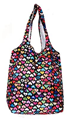 Trendy Sturdy Shopping Tote Bag - Color Hearts Pattern