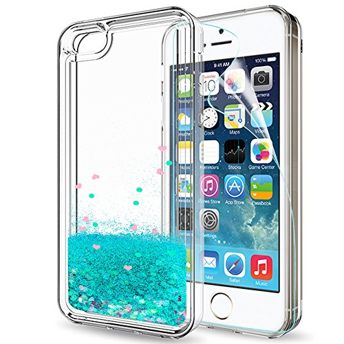 iPhone 5S Case,iPhone 5 Case,iPhone SE Case,iPhone 5SE with HD Screen Protector for Girls Women,LeYi Cute Shiny Glitter Moving Quicksand Liquid Clear TPU Phone Case for APPLE iPhone 5SE ZX Turquoise