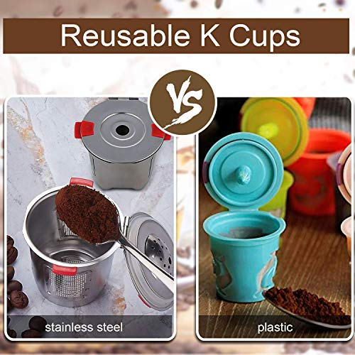 Reusable k Cups For Keurig 2.0 & 1.0 Coffee Machines Universal Stainless Steel Reusable Keurig Filter keurig Compatible K55 100% BPA-Free (4PC) by YEOSEN (Image #2)