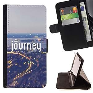 BullDog Case - FOR/Samsung Galaxy S6 / - / the journey text city trace night lights /- Monedero de cuero de la PU Llevar cubierta de la caja con el ID Credit Card Slots Flip funda de cuer