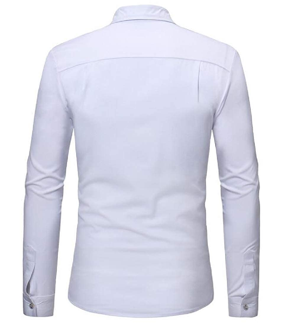CRYYU Men Hipster Long Sleeve Zipper Turn-Down Collar Button up Shirts
