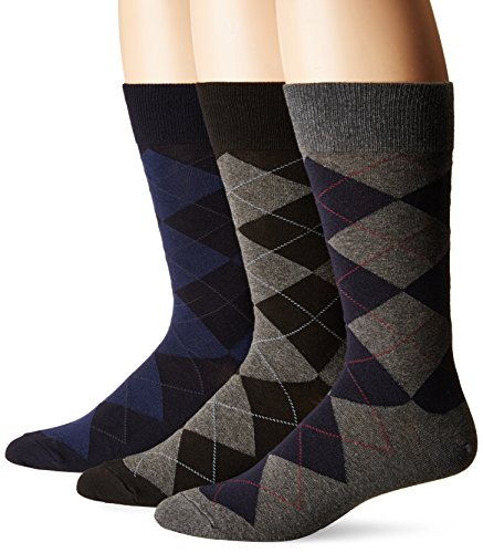 Polo Ralph Lauren - Classic Argyle Dress Socks - Pack of 3 Pairs, One Size, Charcoal Assorted