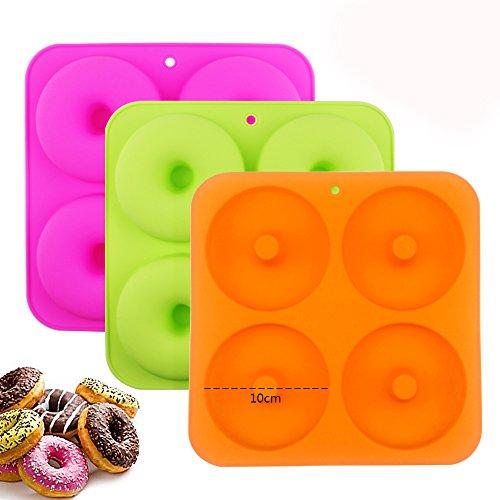 "BAKHUK 3Pack 4"" Donut Baking Pan Full Size Non Stick Silicon"