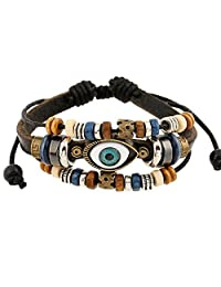 Unisex Handmade Turkish Eye Faux Leather Adjustable Bracelet Wristband (Black-2)