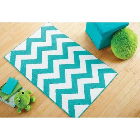 Adorable Mainstays Kids Chevron Pattern Rug (Teal 2'6x3'10)