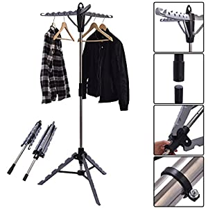 Tangkula Clothes Hanger Drying Portable Multifunctional Retractable Laundry Racks Tripod