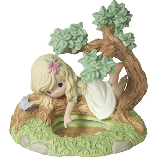(Precious Moments 172011 You Are The Reflection of His Love Bisque Porcelain Figurine Girl on Tree with Reflective Pond)