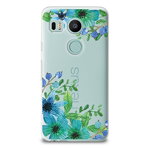 CasesByLorraine Nexus 5X Case, Lilac Floral Blue Green Flowers Clear Transparent Case Flexible TPU Soft Gel Protective Cover for LG Google Nexus 5X (P81) (Best Accessories For Nexus 5x)