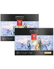 ARTEZA 2 blocs de papier acrylique A3 400 g/m2 | Chaque bloc aquarelle 29,7 x 42 cm | 2 x 16 feuilles | Papier texturé | Idéal pour peinture acrylique ou huile