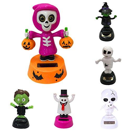 HomMall 6 Packs Solar Powered Dancing Halloween Skull Pumpkin Bobble Head Toy Office Desk Car Decoration -