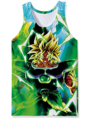 OPCOLV Men's 3D Printed Cool Goku Breathable Tank Top Dragon Ball z All-Over Graphics Soft Lightweight Tees Size 2XL