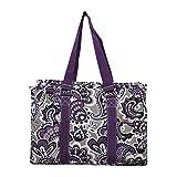 NGIL All Purpose Organizer Medium Utility Tote Bag 2018 Spring Collection (Purple Paisley Park)