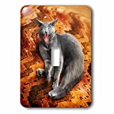 Doreen Erhardt Cats - Cute Gray Cat Yawning or Screaming on a Big Orange Print Pillow - Light Switch Covers - single toggle switch (lsp_240129_1)
