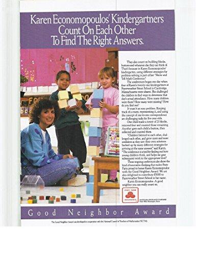 1991 Vintage Magazine Advertisement State Farm Insurance Economopoulos Kindergartners