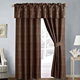 Janet 5PC Jacquard Lined Window Curtain Panel Set, 2 Panels 84 inches Long, 1 Valance and 2 Tiebacks For Sale