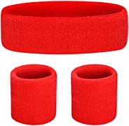 Sweatband Set [ 3 or 6 Pack ] - Including Headband and Wristbands for Women Men and Kids- Perfect for Running