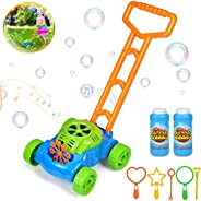 kolegend Bubble Machine Mower for Kids - Automatic Bubble Lawn Machine with Music Sounds for Toddlers Plus 4 x